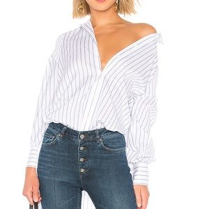BCBGMAXAZARIA BNWT White Blue striped shirt. Sz L.